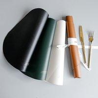 Pelle Coasters Tabella Mat Isolamento termico non -slip oilproof impermeabile Breve tovagliette Bowl Coaster da tavola Cucina Pad Placemat