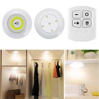 LED dimmerabile sotto Cabinet Cob Night Light batteria a batteria PUCK PUCK ADDONDING LIGHT con telecomando per il guardaroba