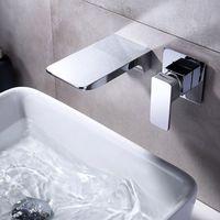 Cromo montado en la pared del grifo del lavabo Matt baño de latón mezclador de la cascada del golpecito de agua de baño de agua caliente y fría Grifos Soporte sola manija