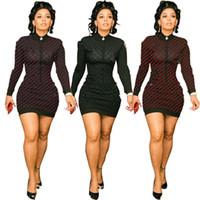 Femmes mini robes à manches longues jupes courtes courtes sexy chute hiver vêtements décontractés vêtement de rayures robes de collier de table DHL 1590