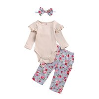3PCS Säuglingskleinkind-Baby-Kleidung Floral Ruffle Body Long Sleeve Bodysuit Top Halen Hose Stirnband Outfits Set 0-24M