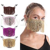Máscaras leopardo de la manera de la borla de la cara de la moda de tendencia Discoteca Bar Máscaras del partido del estilo lavable reutilizable 4 RRA3641 Máscara