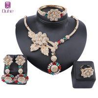Afrikanischer Schmuck Charm Kristall Halskette Ohrringe Dubai Gold Schmuck Sets Für Frauen Hochzeit Brautarmband Ring Jewellry Set