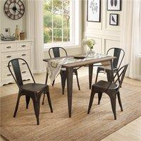 Vintage European American Massivholz-Metall Essecken U- PC der Art 5 1 Tisch mit 4 Stühlen Küchenmöbel SL000024DAA
