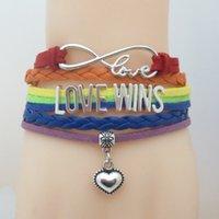 Vendite calde Infinity amore conquista il cuore del braccialetto di fascino LGBT Orgoglio Bracciale per gli uomini delle donne regalo per LGBT Gay Pride multistrato Wrap Braceletps1538