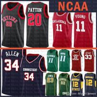 TKM Oklahoma рано TRAE 11 молодые NCAA черный горизонт Gary 20 Payton Cheap Sale Jersey Ray 34 Allen Kyrie Connecticut 11 Университет Ирвинг