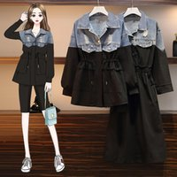 Casual Plus Size Spring Autumn Dress Female 2020 vintage Women Stitching Long Sleeve Fake Two Denim Trench Coat M238