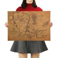 التعادل لير خمر الأوسط خريطة الأرض في سيد الخواتم المشارك ديكور المنزل الجدار ملصق 30x21cm ريترو ورق كرافت
