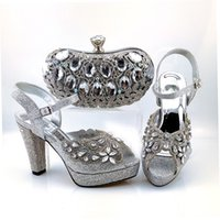 Hot sale silver women pumps and bag set with big crystal style african shoes match handbag for dress CP6001,Heel 11CM