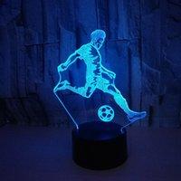 noite Início Atmosfera mesa de acrílico 3D Lâmpada 3D Football 3D luzes LED colorida do toque lâmpada Visual presente