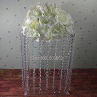 Decoração do partido Remessa livre iluminar a tabela de cristal de casamento Centro de flores quadrado Suporte de flor personalizado Price