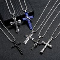 뜨거운 판매 망 스테인레스 스틸 크로스 펜던트 목걸이 남자 종교 믿음 십자가 여자 패션 쥬얼리 선물을위한 Crucifix 매력 체인