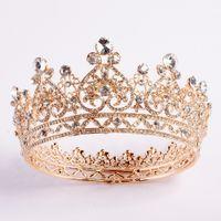 2020 Nueva Bling Cristales de lujo de la boda de la corona de plata del oro del Rhinestone princesa reina tiara de la corona accesorios del pelo de la alta calidad barata