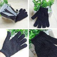 New Black Nylon Body Cleaning Shower Gloves Exfoliating Bath Glove Five Fingers Bath Bathroom Gloves Home Supplies T2I337-2