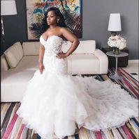 Ivory Vintage 2021 Trumpet sereia vestidos de casamento Querida Lace corpete namorada Neck ata acima Plus Size Vestido de Noiva Robe De Mariee