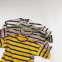 HX осень осень мода дети мальчиков девочек полосы футболки дети детские высококачественные чистые хлопковые топы тройники дизайнер ins