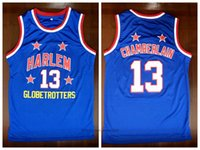 Harlem Globetrotters 13 Wilt Chamberlain College كرة السلة جيرسي خمر أزرق جميع مخيط حجم S-3XL من نحن