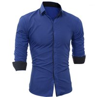 Ropa Slim Hombres Casual Camisas Moda Paneled Single Breasted Mens Casual Camisas Diseñador Manga Larga Machos