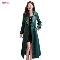 Damen Trench Coats Herbst Wintermantel Korean Windjacke Weibliche Plus Größe Doppelreiß mit Gürtel Lange Chic Hohe Qualität 977