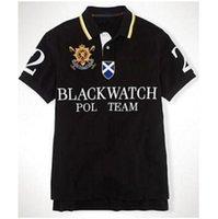 Casual Polo de 2018 Black Watch Equipe Homens Big Cavalo Bordados homens de negócios Polos lapela clássico T-shirt de manga curta Tees Black White