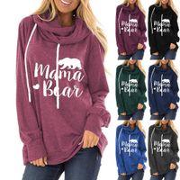 가을 여성의 스웨터 플러스 사이즈 Drawstring 후드 스웨터 엄마 곰 편지 인쇄 느슨한 라운드 넥 긴 소매 티셔츠