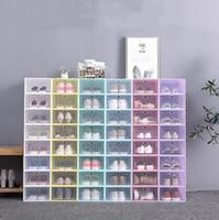 صناديق تخزين الأحذية البلاستيكية لون الحلوى التكديس الأحذية المنظم مربع صدفي تكويم حذاء حالة صناديق التخزين المنزلية درج LSK1384