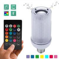 LED Bluetooth Music Intelligent Light E27 LED Dimming Lamp Bluetooth APP Speaker RGB Flame Effect Smart Lamp 24 keys Remote Control