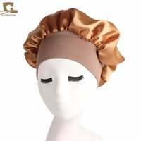 400pcs lot Wholesale Satin Bonnet for Women with Wide Elastic Band Soft Silky Breathable Sleep Cap Headwear Hair Accessories