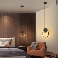 Forma geométrica lámpara del dormitorio LED colgante de la lámpara de cabecera sencilla comedor luz sola barra cabeza minimalista pequeña lámpara de araña
