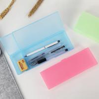 Papelaria de plástico Caixa de lápis cor sólida translúcido papelaria cases de papelaria simples caixa de caneta de armazenamento estudantes escritório lápis sacos zx bh2001