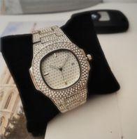 In modo Stock Reloj Marca mujer donne della vigilanza piena di diamanti da uomo Orologi da donna Orologi di lusso della bracciale in oro rosa Orologio