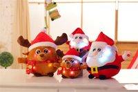 Brinquedos de Natal levou 25cm colorido brilhante Natal pai deer cervo pelúcia brinquedos criativos iluminaram a música cantando animais de pelúcia para crianças