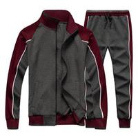 Мужская спортивная одежда повседневный весенний трексуит мужчины две части наборы стенд воротник куртки толстовка брюки бегун