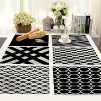 Artistic Black And White Stripes Life 4 Pieces Set Kitchen Table Mats algodão linho guardanapos de mesa Stripe Placemats decorativa