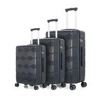 Nero 3 pezzi di bagaglio, portatile ABS + trolley PC 20/24/28 pollici, ruota estensibile rotazione cassa dei bagagli, a scomparsa, noi magazzino