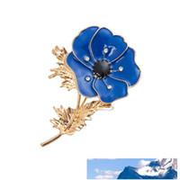 Terno Flor Retro Poppy Cristal Broche Para Mulheres menina Boutonniere Roupa Casamento Pins esmalte Jóias Acessórios