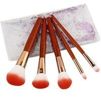 ISHOWTIENDA 5 Imitation Mahogany Handle Makeup Brushes Eye Shadow Blush Brush Set Make up Brushes Sets pinceaux maquillage