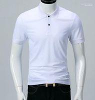 Camisetas de manga corta clásica polos de los hombres de verano Sólido Blanco Negro gira el collar abajo Moda Todos los partido de polo