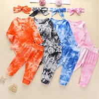 Baby Jumpsuits Säuglingsjunge Designer Kleidung Krawatten-Tiebstoff Kinderkleidung Baby Hoodie Strampler Pullover Hosen Leggings Stirnbänder Bodysuits Set D82505