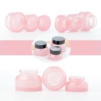 20PCS 15g / 30g / 50g Leere Rosa Glas kosmetische Gesichtscreme Flaschen Lippen Container Jar Probenfläschchen Reise Bernstein Make-up-Töpfe
