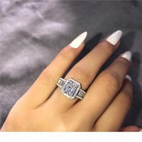 A Choucong Hot Sale Stunning Luxury Jewelry Real 925 Sterling Silver Princess Cut White Topaz Cz Diamond Eternity Wedding Band Ring For