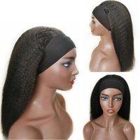 Verworrene Gerade Glueless Human Hair Perücke mit Stirnband Full 150% Dichte Brazilian Remy Grobe yaki Nicht Spitze Kopfband Perücken für schwarze Frauen