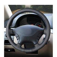 Noir PU cousu main en cuir artificiel volant de voiture Couverture pour Mercedes Benz W639 Viano Vito Volkswagen VW Crafter