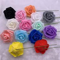 50PCS 7-8cm كبير رؤساء رغوة الزهور الاصطناعية الورود الزهور رغوة الورود وهمية واقعية مع الجذعية DIY باقة الزفاف
