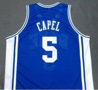 사용자 정의 남성 청소년 여성 # 5 Duke Blue Devils Jeff Capel Basketball Jersey Any Size S-3XL 4XL 5XL 6XL 이름 또는 번호