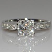 925 실버 반지 여성용 보석 간단한 디자인 스퀘어 신부의 웨딩 약혼 반지
