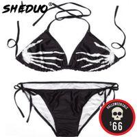 Bikini Seti Artı boyutu 2020 Seksi kadın Hayalet El Mayo Halter Mayo İskeletler Mayo biquini tasarım baskı yazdır