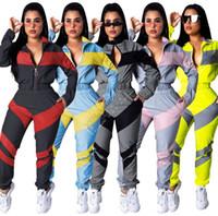 Женская одежда зимняя куртка и брюки двух частей наряд осенью с длинным рукавом Cousssit Color Match Collection Sportswear Crop Cross Tops D82404