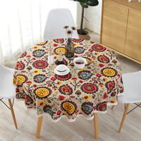 보헤미안 레이스 식탁보 국립 바람 라운드면 인쇄 호텔 장식 테이블 천으로 해바라기 장식 테이블 천으로 레이스를 커버
