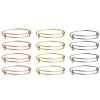 10pcs / lot Graça Momentos Bracelet Bangle 100% de aço inoxidável Cuff pulseiras DIY Jóias Fazendo Cable Bangle ajustável